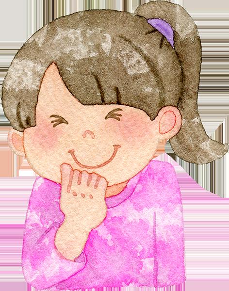 うっしっしと笑う女の子の水彩イラスト