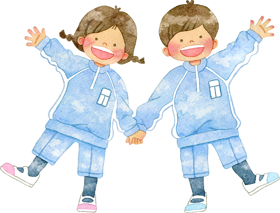 体操着を着て手をつなぐ笑顔の子供たちのイラスト
