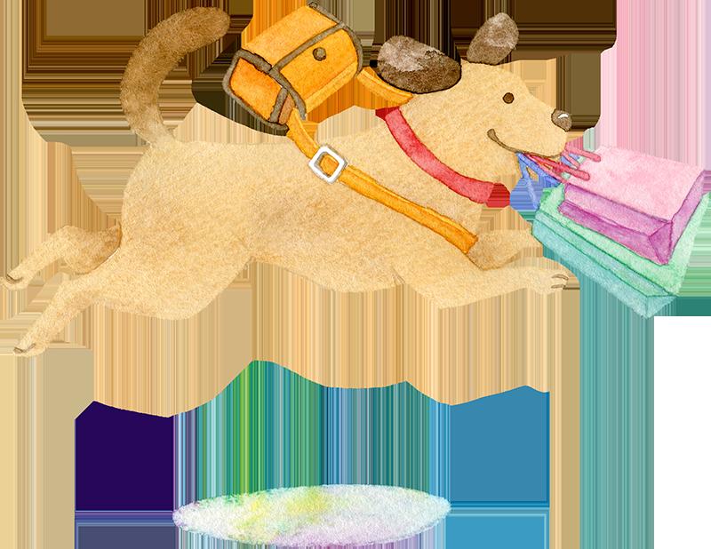 ショッピングバッグをくわえてジャンプをする犬の水彩イラスト