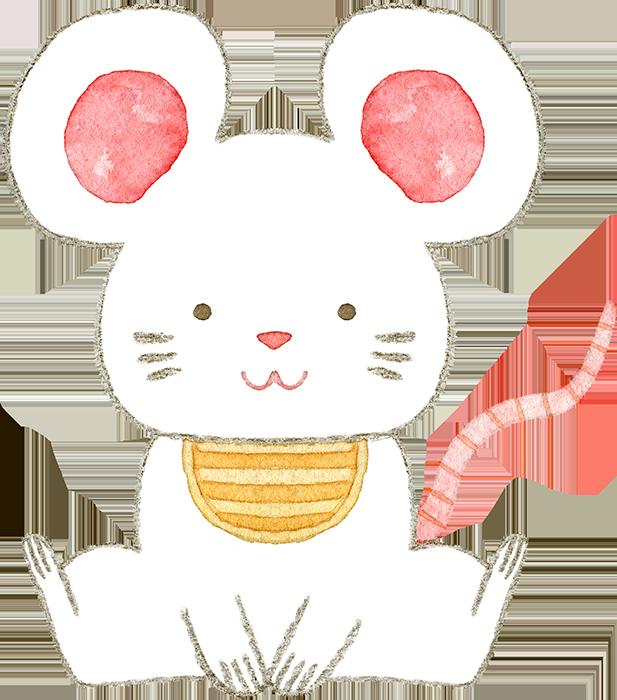 ねずみの赤ちゃんの水彩イラスト