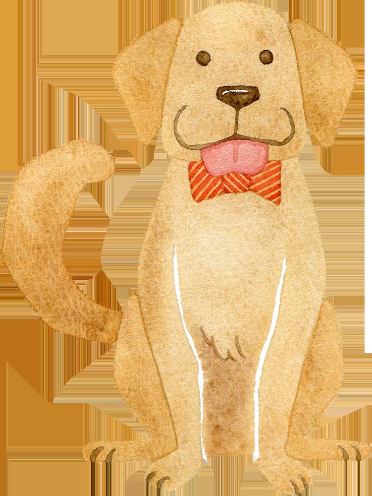 おすわりをする犬の水彩イラスト
