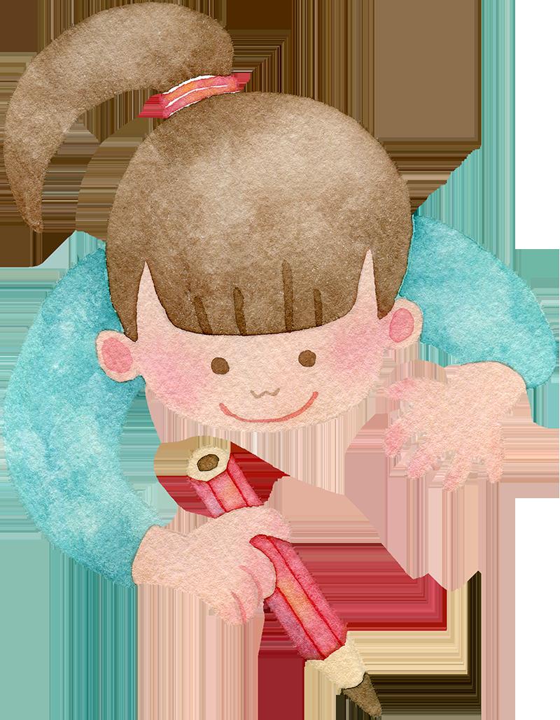 鉛筆を持つ女の子の水彩イラスト