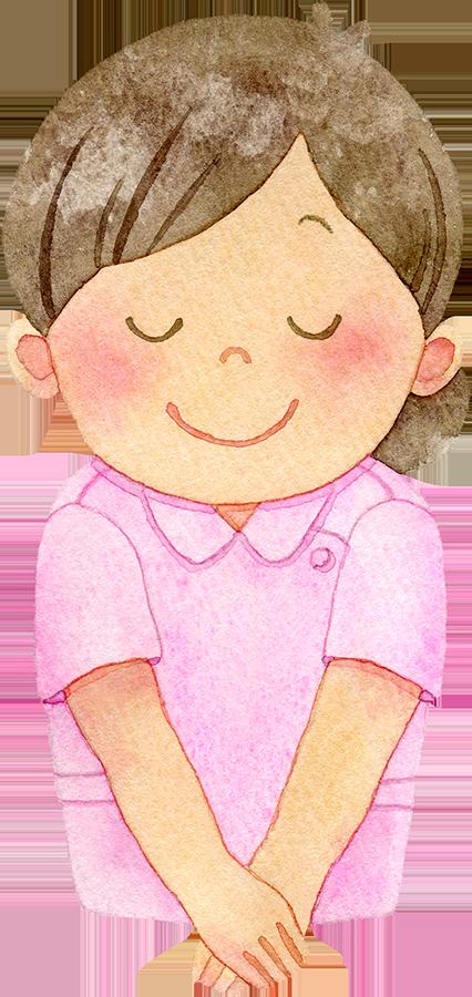 笑顔でお辞儀をする女性歯科衛生士のイラスト