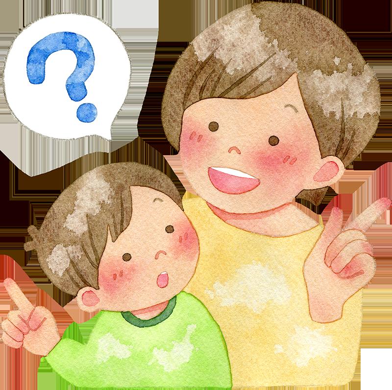 子供の疑問に答える母親の水彩イラスト