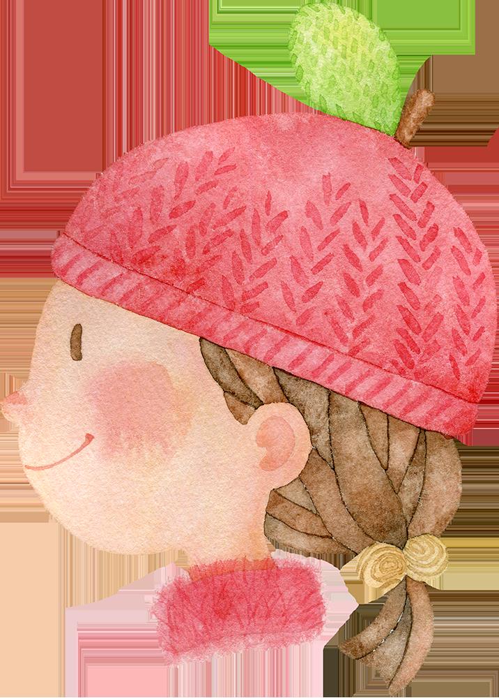 リンゴのニット帽をかぶる女の子の水彩イラスト