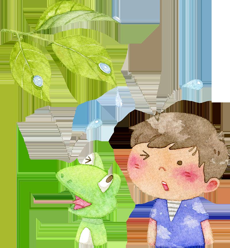 雨粒を頭に受ける男の子とカエルの水彩イラスト