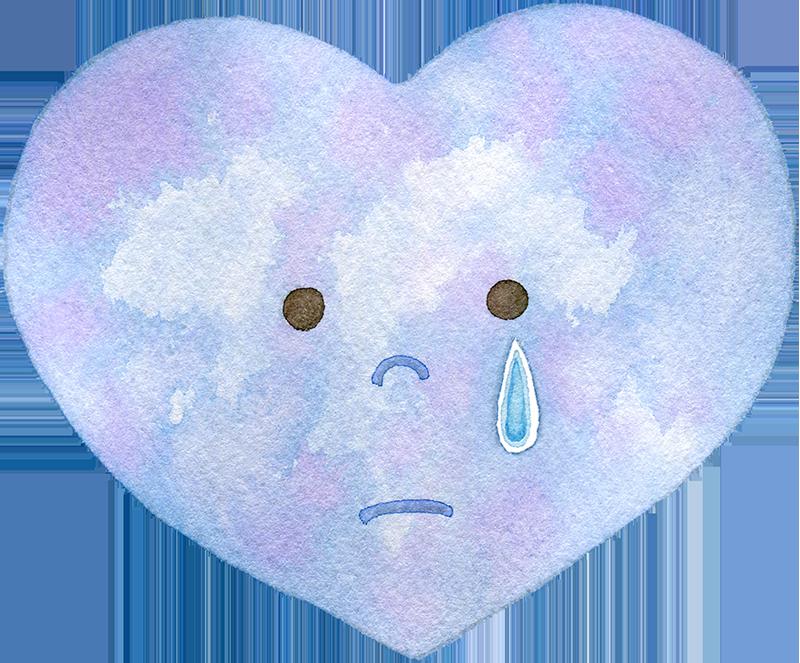 涙を流すハートの水彩イラスト