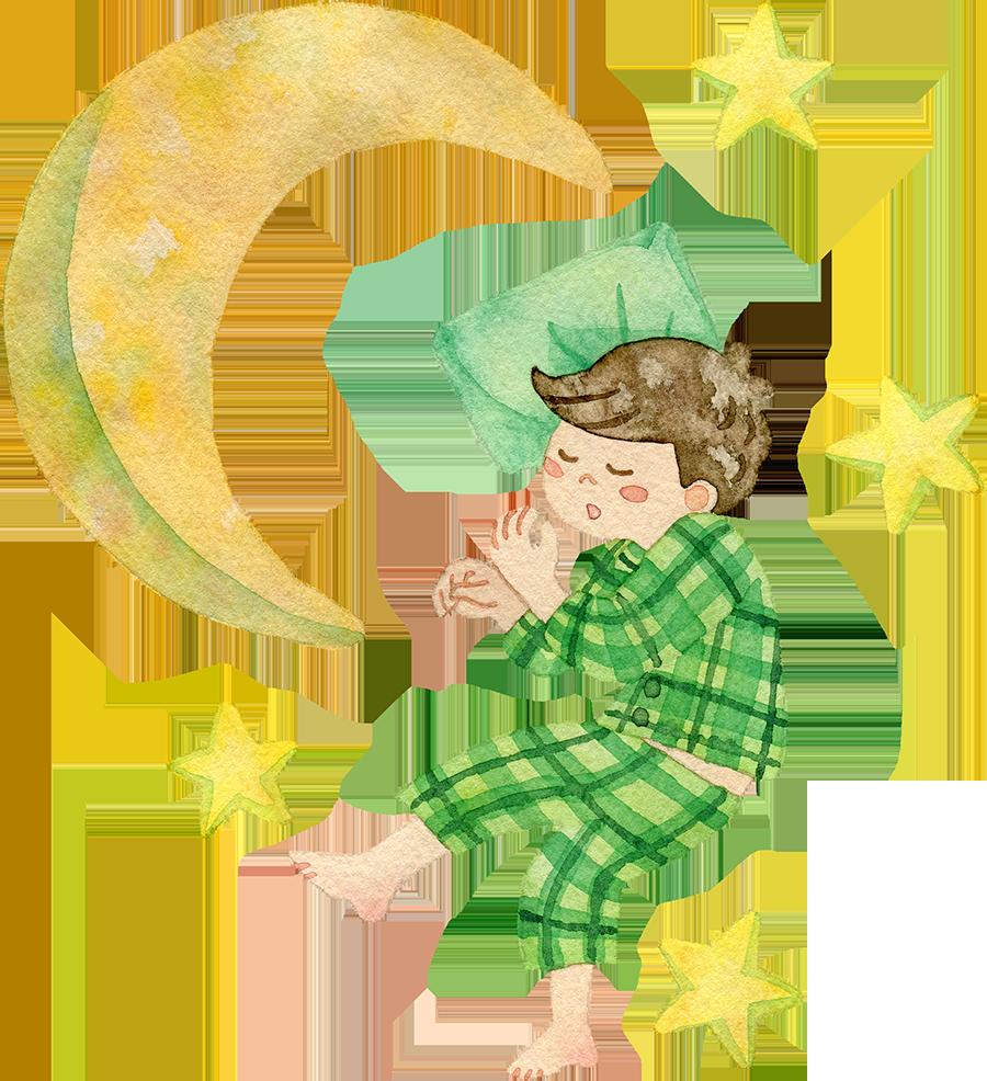 すやすや眠る男の子の水彩イラスト(月、星あり)