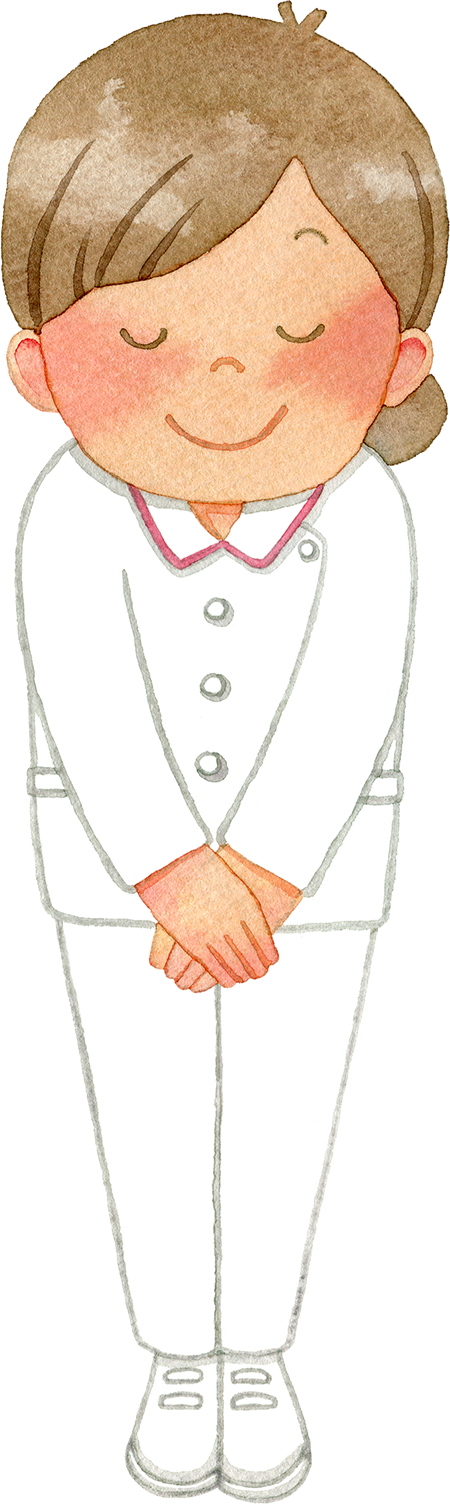 ③お辞儀をする女性看護師(全身)
