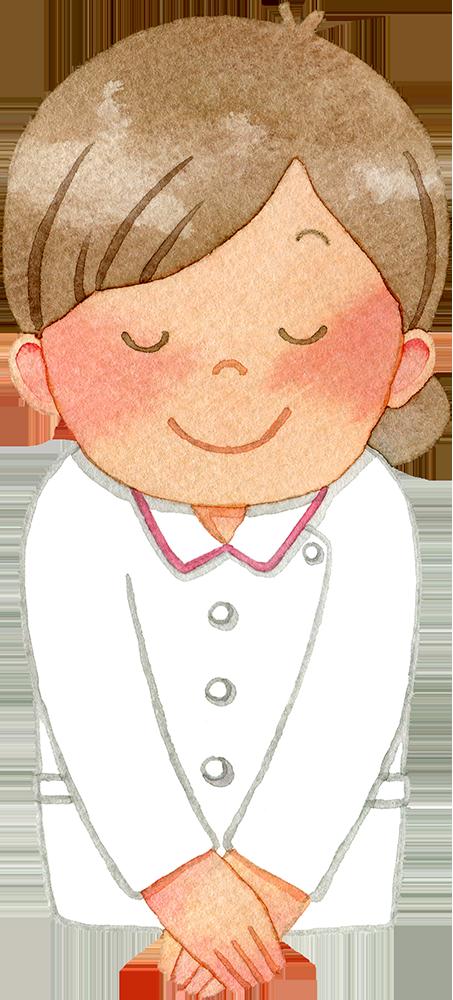 ①お辞儀をする女性看護師(上半身)