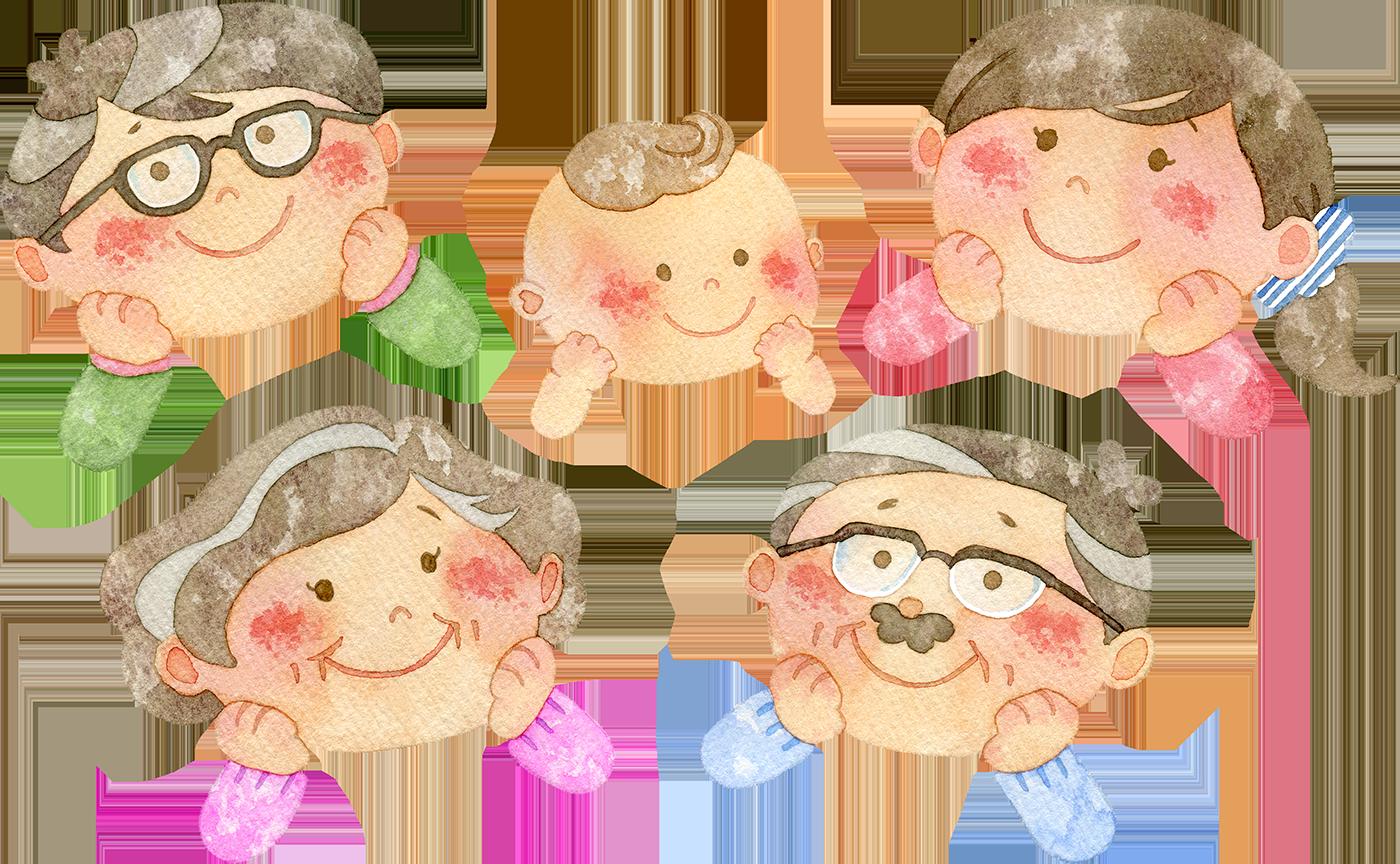 楽しそうに笑っている家族の水彩イラスト