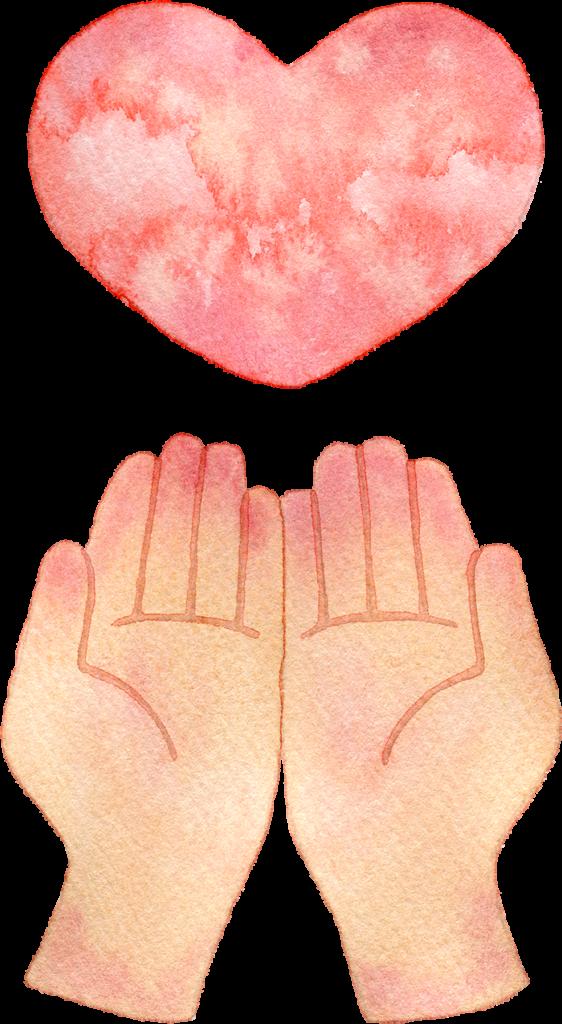 手とハートの水彩イラスト