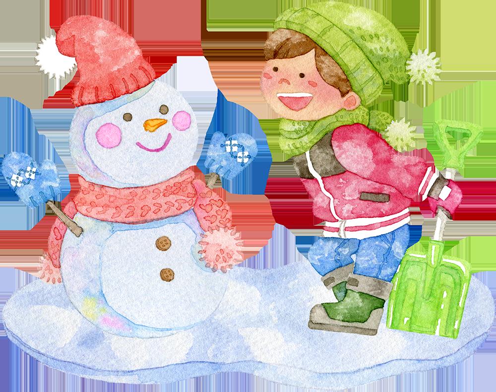 雪だるまと男の子の水彩イラスト