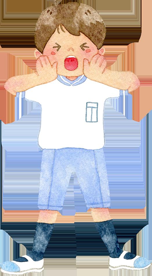 ③体操着を着て応援する男の子の水彩イラスト