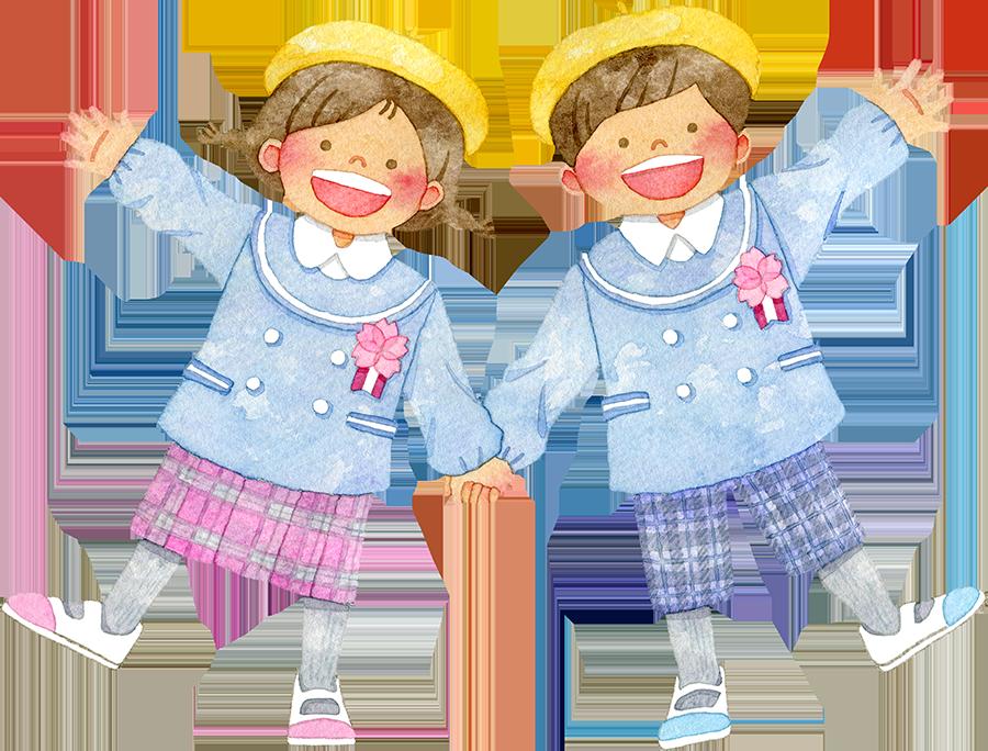 手をつなぐ笑顔の園児たち(入園/卒園)のイラスト