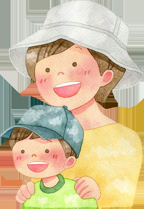 帽子をかぶった親子の水彩イラスト