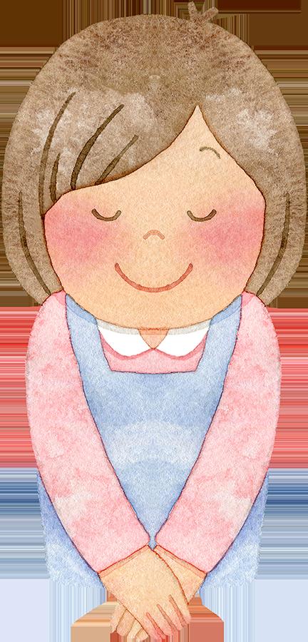 笑顔でお辞儀をする主婦(上半身)の水彩イラスト