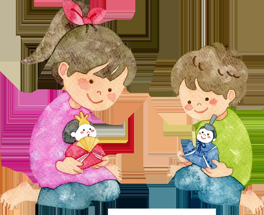 雛飾りの準備をする子供たちのイラスト