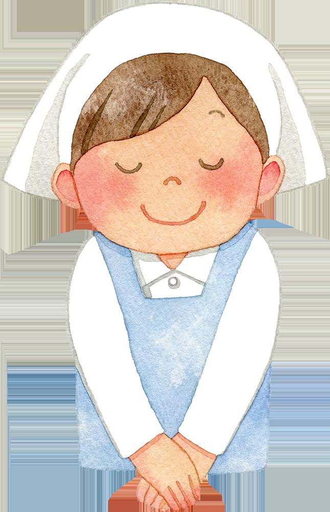お辞儀をする三角巾とエプロンを付けた女性の水彩イラスト
