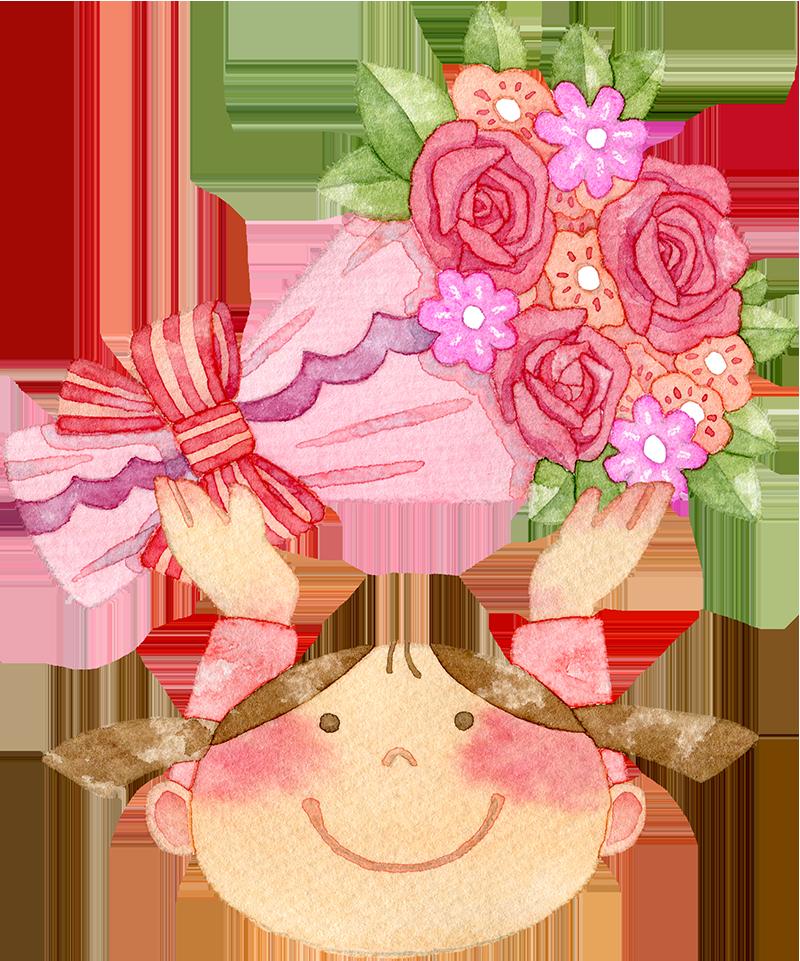 ①赤い花束を持つ女の子