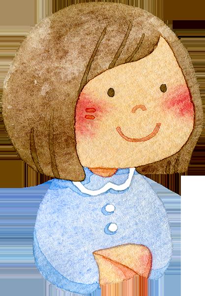 肘をつく女の子の水彩イラスト