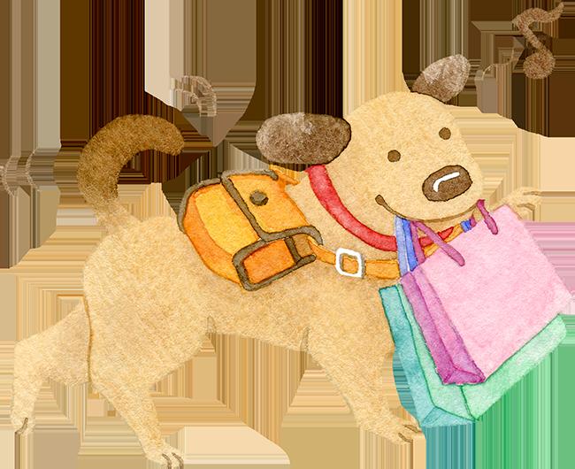 ショッピングバッグをくわえて歩く犬の水彩イラスト