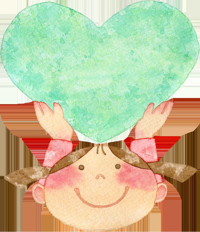 ④緑色のハートを持ち上げる女の子の水彩イラスト