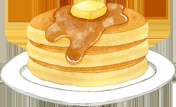 ホットケーキの水彩イラスト