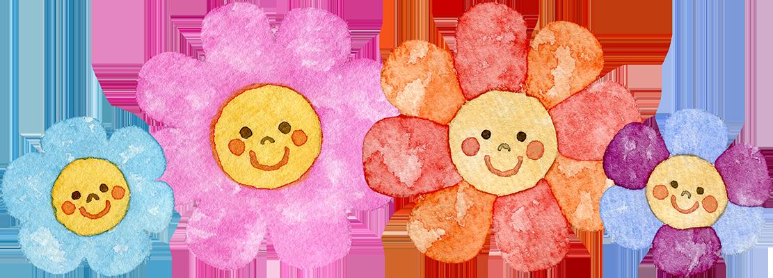 カラフルな顔つきの花の水彩イラスト(ライン)