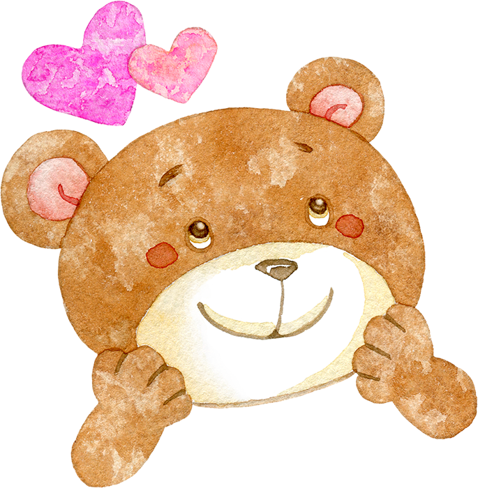 ワクワクしているクマの水彩イラスト