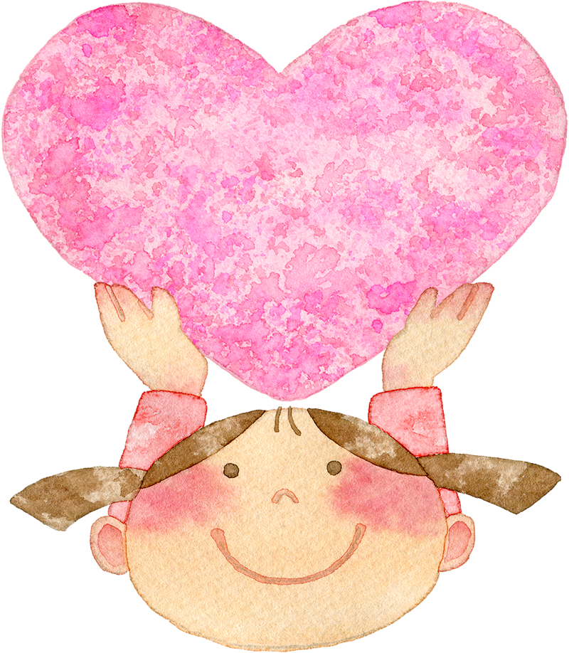①ピンク色のハートを持ち上げる女の子の水彩イラスト