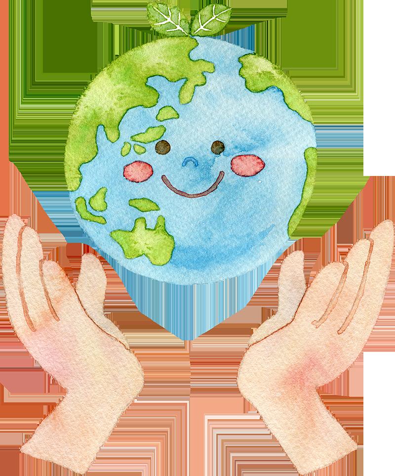 手と地球の水彩イラスト
