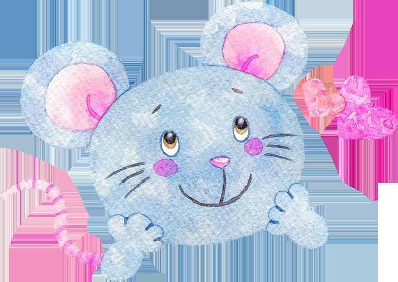 ワクワクしているネズミの水彩イラスト