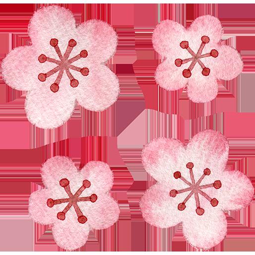 ピンク色の梅の花の水彩イラスト