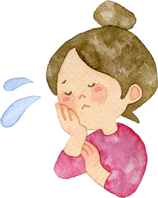 悩む女性の水彩イラスト