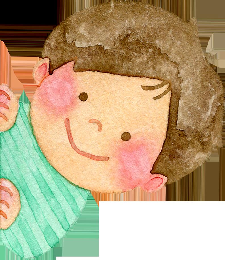 ひょっこりと顔を出す子供たちの水彩イラスト(緑色)
