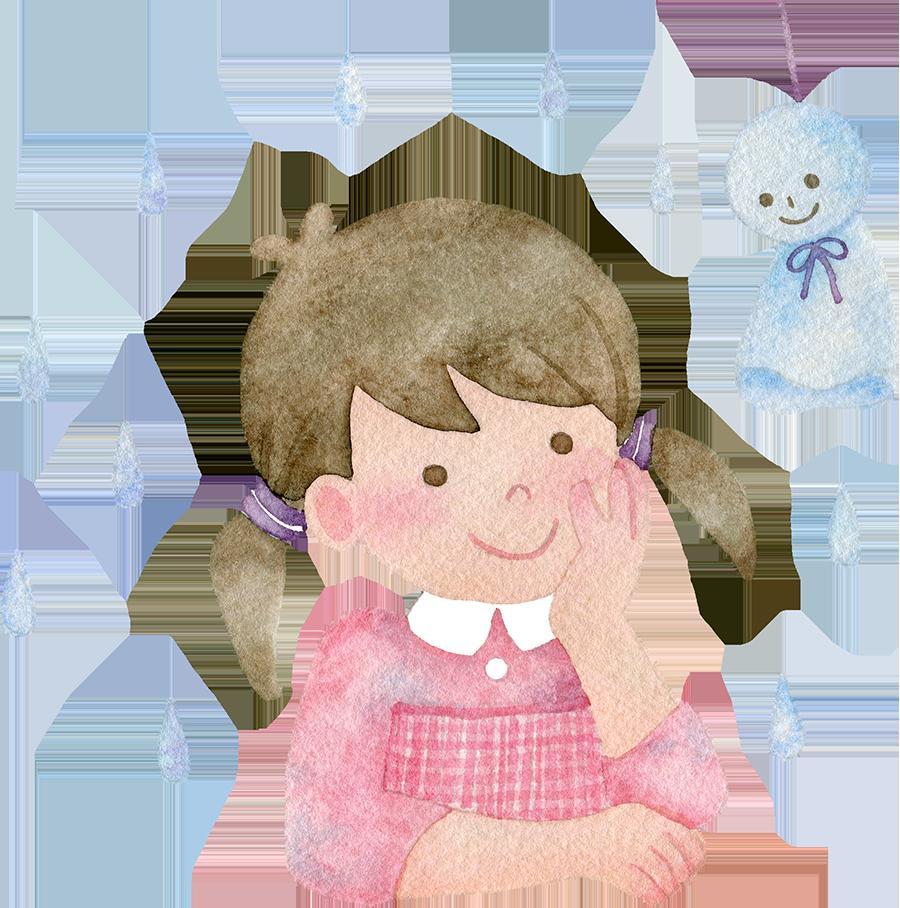 てるてる坊主を見上げる女の子の水彩イラスト
