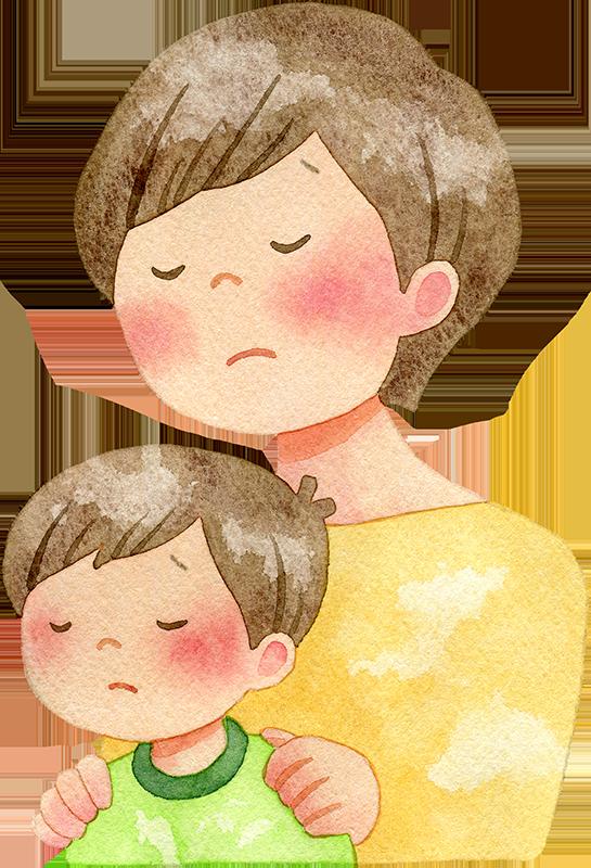 肩を落とす親子の水彩イラスト