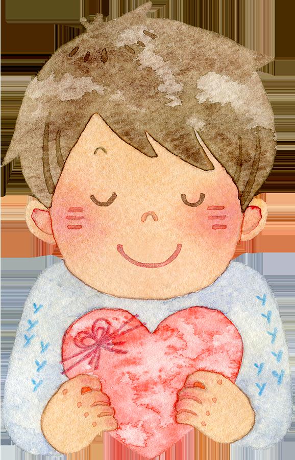 ハートを持ち目を閉じて微笑む若い男性の水彩イラスト