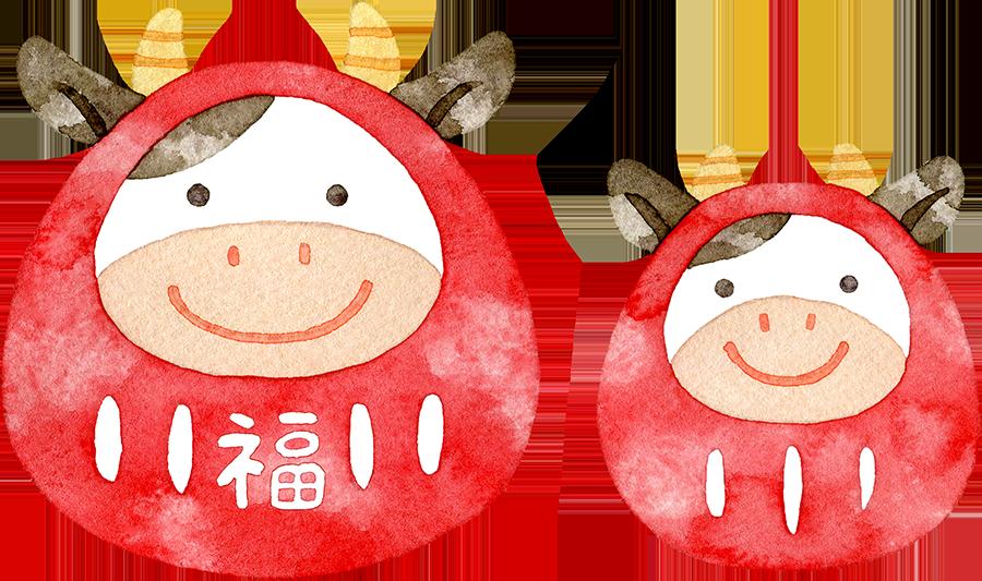 牛だるま(赤)の水彩イラスト
