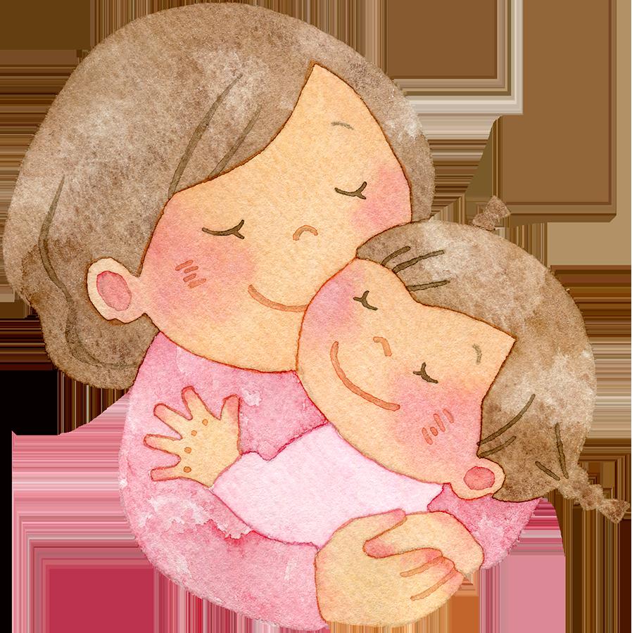 女の子を抱きしめる母親の水彩イラスト