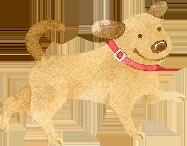歩く犬の水彩イラスト