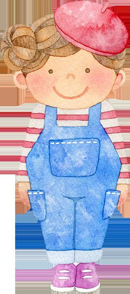 ベレー帽の女の子の水彩イラスト